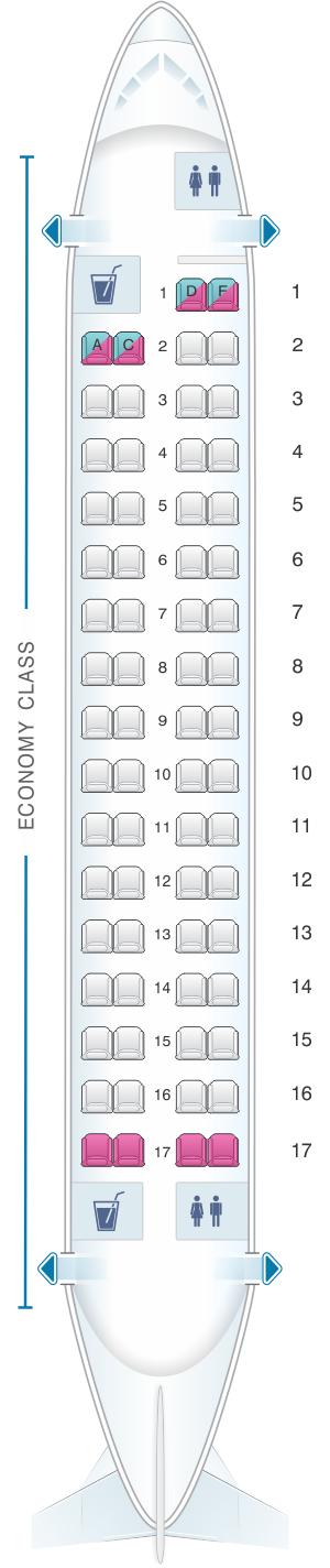 Seat map for Air Algerie ATR 72-200