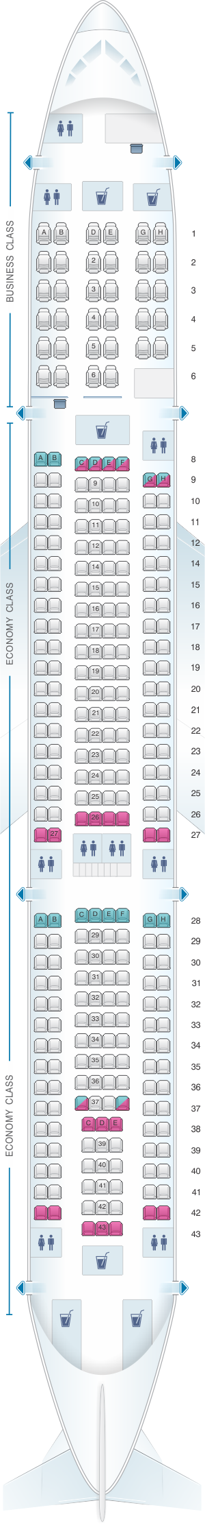Seat map for Air Mauritius Airbus A340 300C