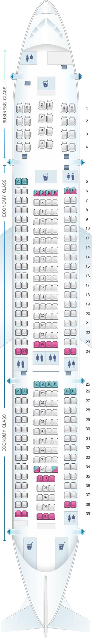 Seat Map Air Mauritius Airbus A330 200