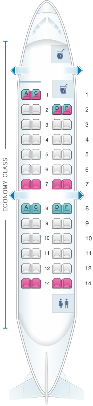 Seat map for Iberia Regional - Air Nostrum CRJ 200