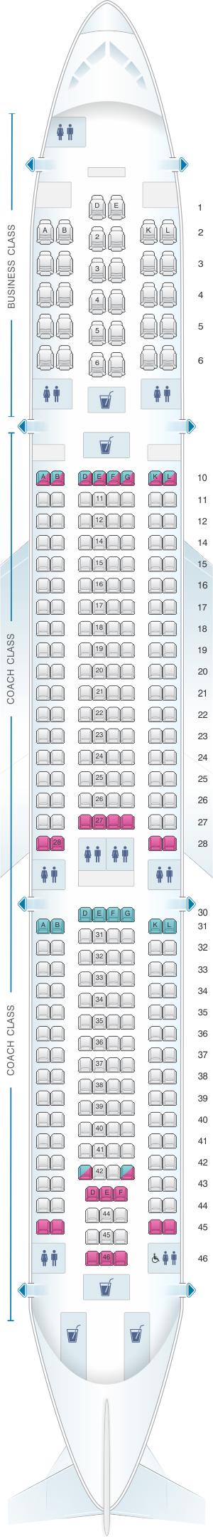 Seat map for Air Tahiti Nui Airbus A340 300