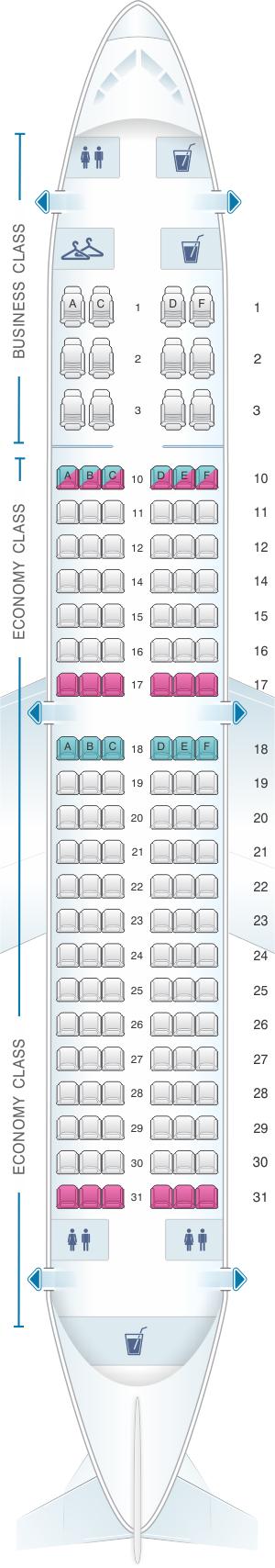 Seat map for Airtran Airways Boeing B737 700