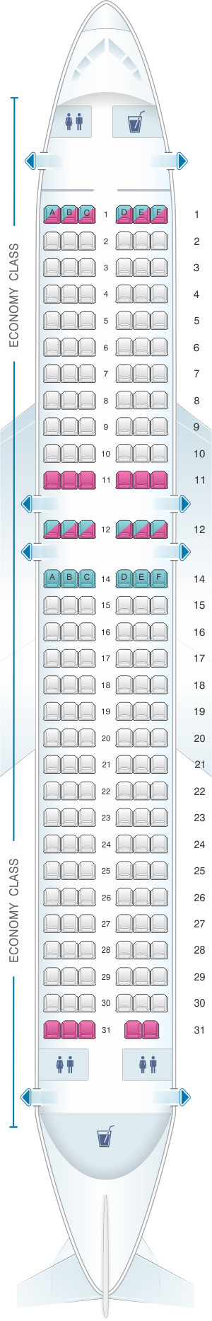 Seat map for Cebu Pacific Air Airbus A320