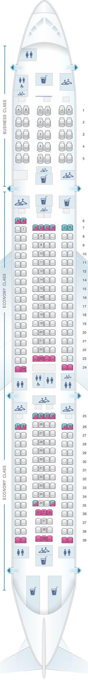 Seat map for China Airlines Airbus A340 300