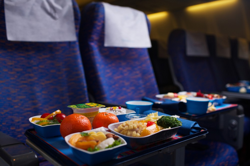 Tray of food on the plane