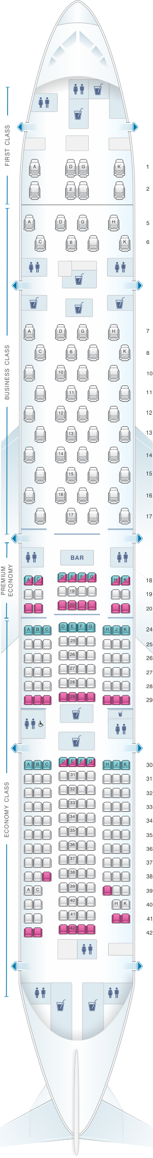 Seat map for ANA - All Nippon Airways Boeing B777 300ER 264pax