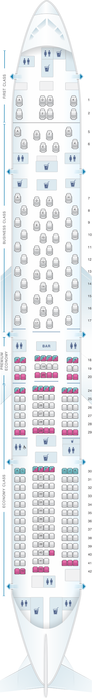 Seat map for ANA - All Nippon Airways Boeing B777 300ER 250pax