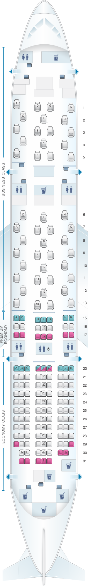 Seat map for ANA - All Nippon Airways Boeing B787-8 169PAX
