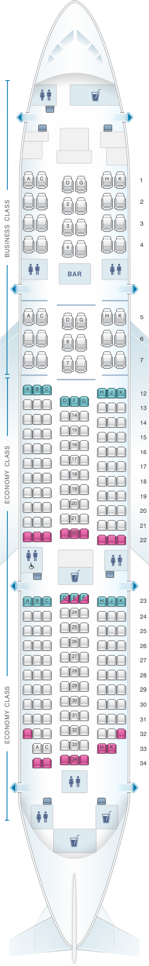 Seat map for ANA - All Nippon Airways Boeing B787-8 240PAX