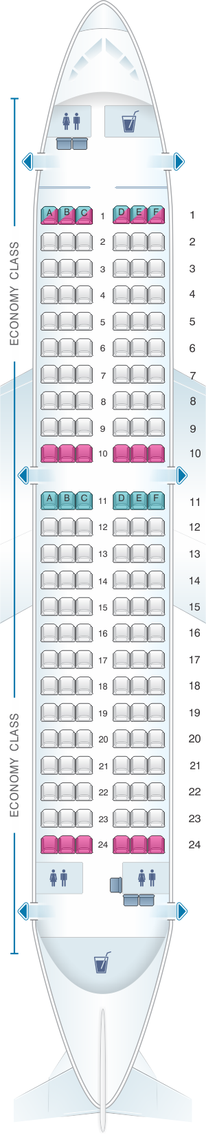 Seat map for Adria Airways Airbus A319