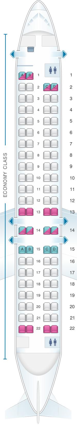 Seat map for Adria Airways Bombardier CRJ 900LR