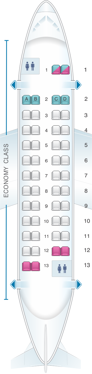 Seat map for Aer Lingus ATR 42 300