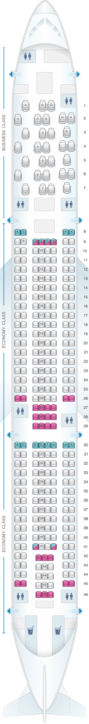 Seat map for Aer Lingus Airbus A330 300