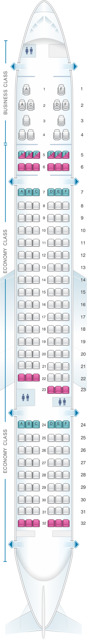 Seat map for Aer Lingus Boeing B757 200