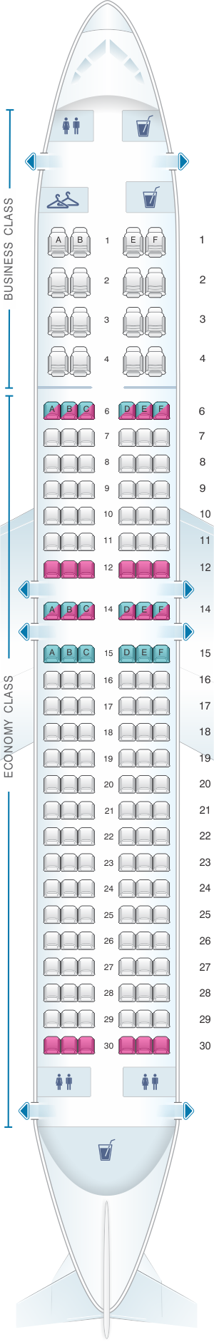 Seat map for Aeromexico Boeing B737 800
