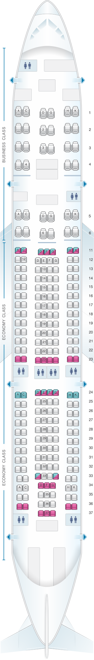 Seat map for Aeroflot Russian Airlines Airbus A330 200