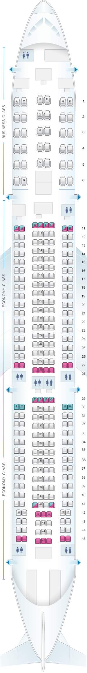 Seat map for Aeroflot Russian Airlines Airbus A330 300 Config.1