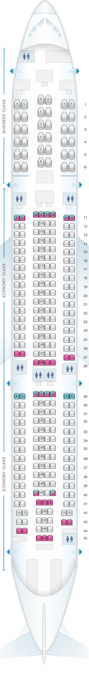 Seat map for Aeroflot Russian Airlines Airbus A330 300 Config.3