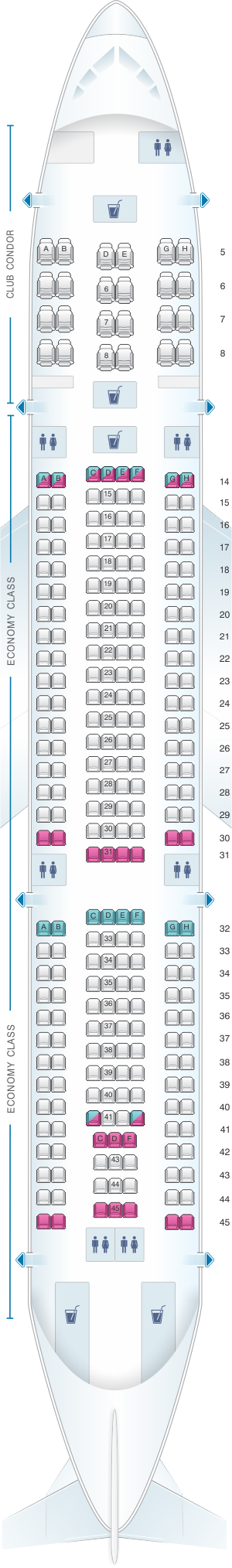 Seat map for Aerolineas Argentinas Airbus A330 200