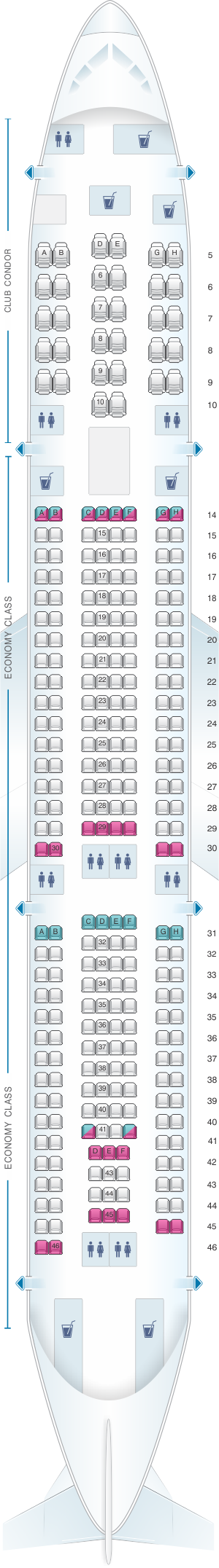 Seat map for Aerolineas Argentinas Airbus A340 300