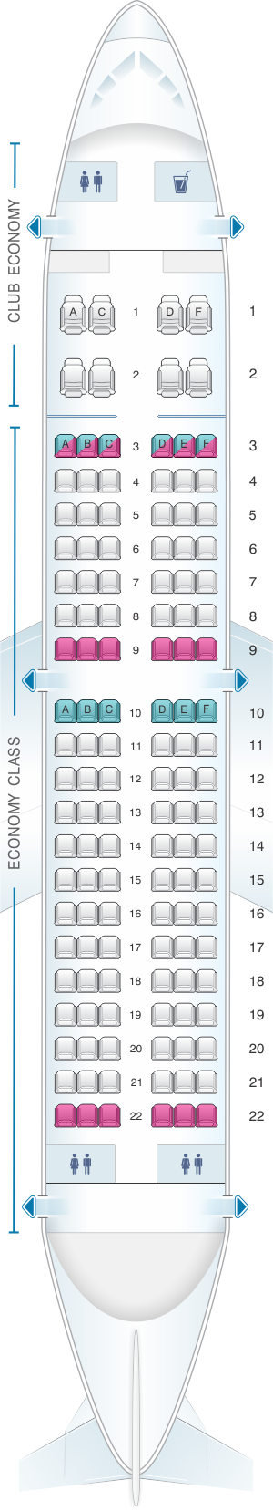 Seat map for Aerolineas Argentinas Boeing B737 700