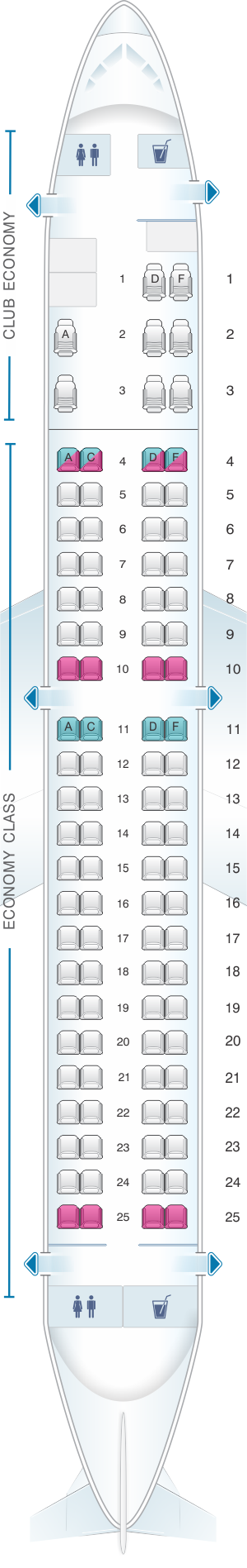 Seat map for Aerolineas Argentinas Embraer 190