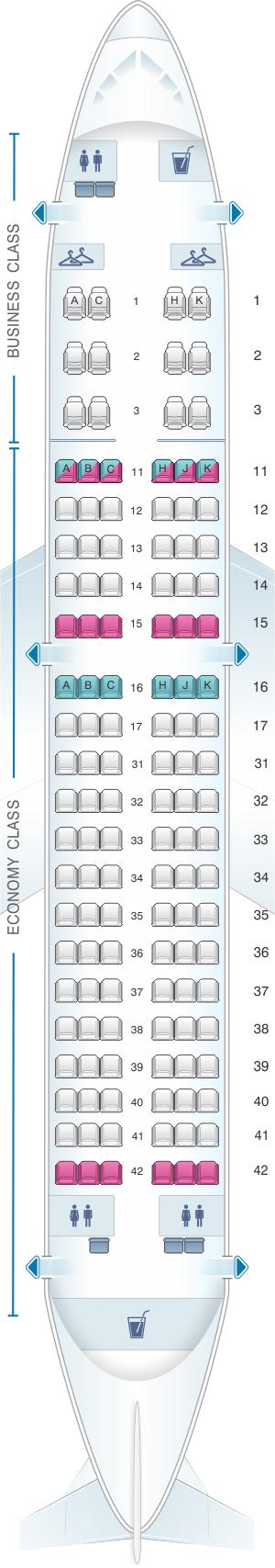Seat Map Air Astana Airbus A319 132 | SeatMaestro
