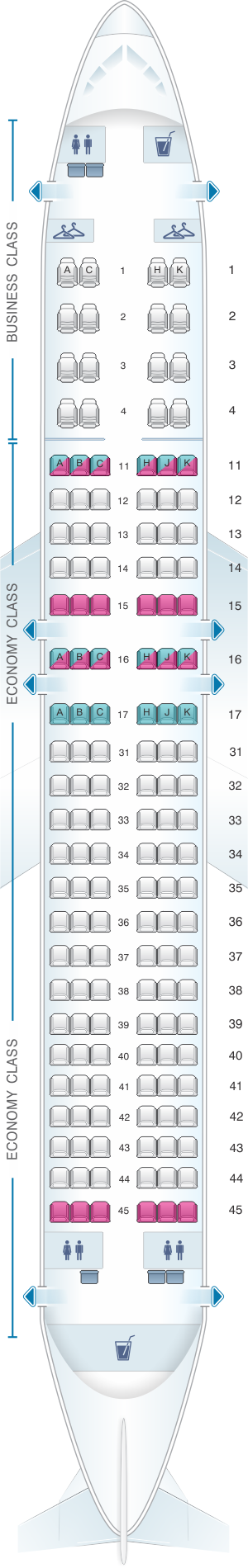 Seat map for Air Astana Airbus A320 232