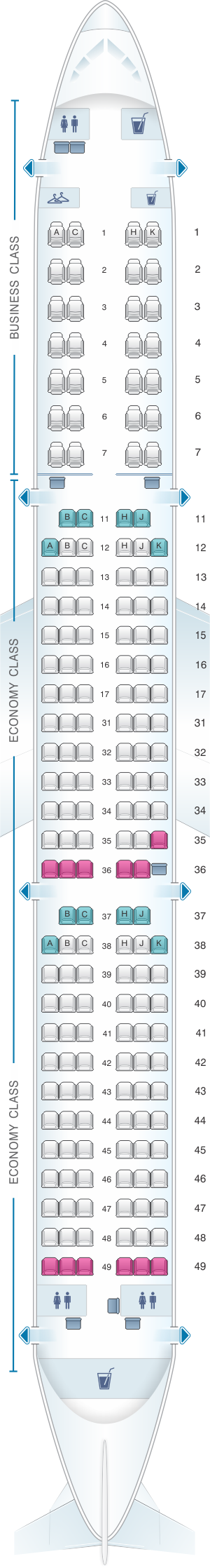 Seat map for Air Astana Airbus A321 231 Config.2