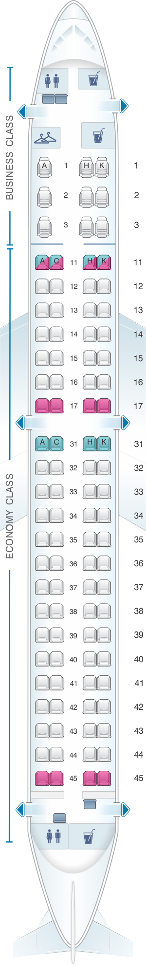Seat map for Air Astana Embraer 190