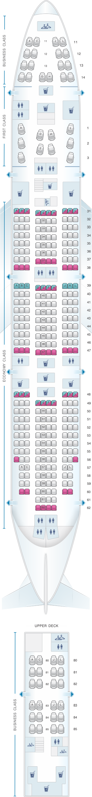 Seat map for Air China Boeing B747 400 (344PAX)
