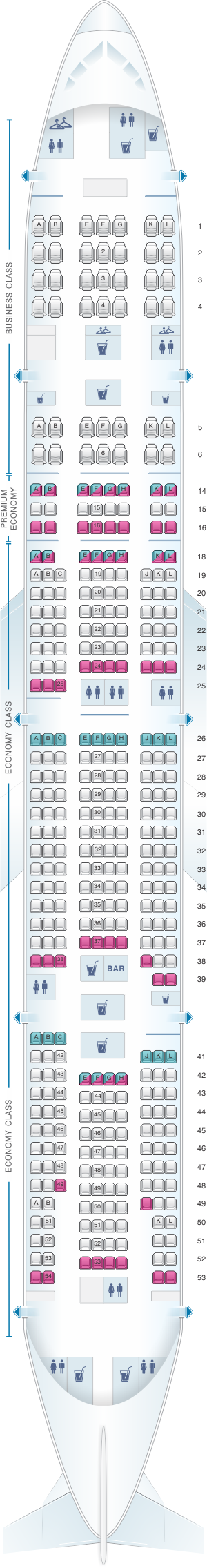 Seat map air france boeing b777 300 long haul for Plan de cabine boeing 777 200 air france