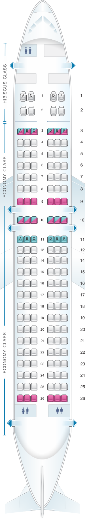 Seat map for Aircalin Airbus A320