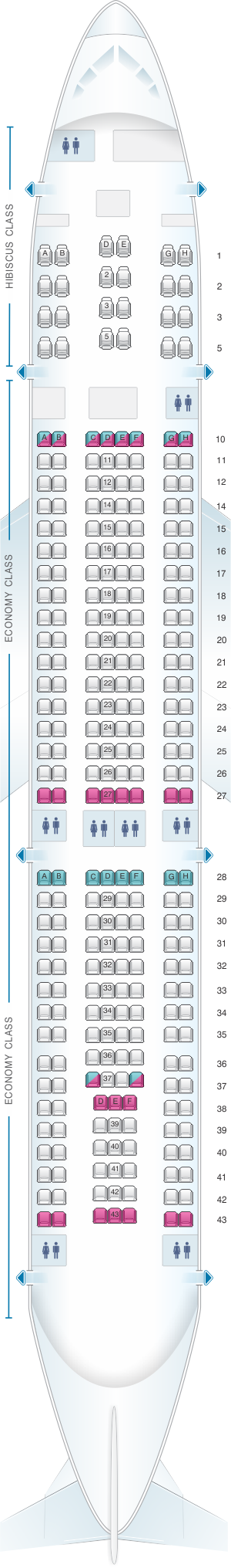Seat map for Aircalin Airbus A330 200