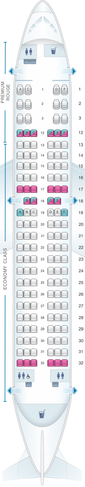 Seat map for Air Canada Airbus A319 100 Rouge