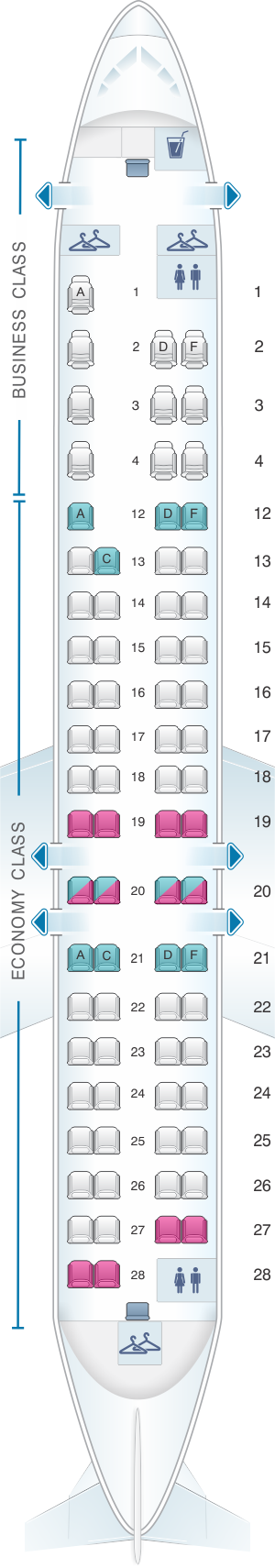 Seat map for Air Canada Bombardier CRJ705