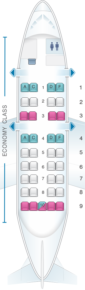 Seat map for Air Canada Bombardier Dash 8-100