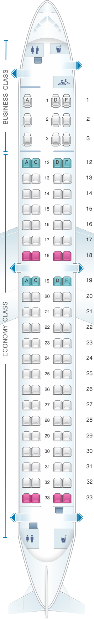 Seat map for Air Canada Embraer E190