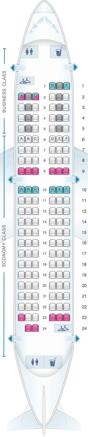 Seat map for Air France Airbus A318 Europe