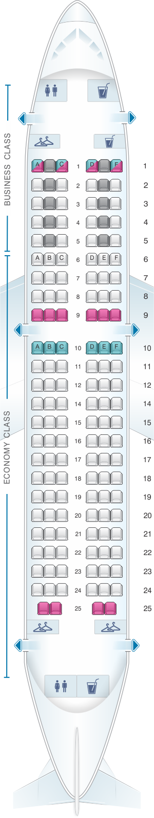 Seat map for Air France Airbus A319 Europe V1