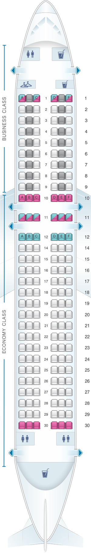 Seat map for Air France Airbus A320 Europe V1
