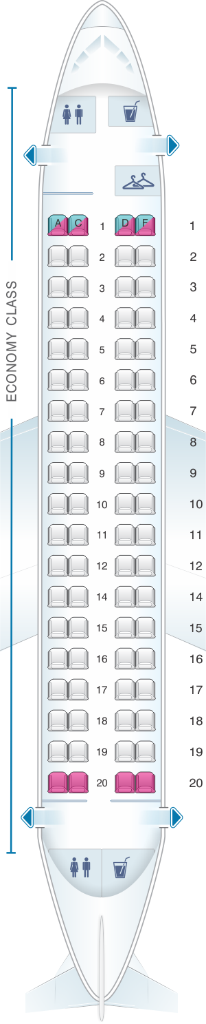 Seat map for Air France Embraer 170