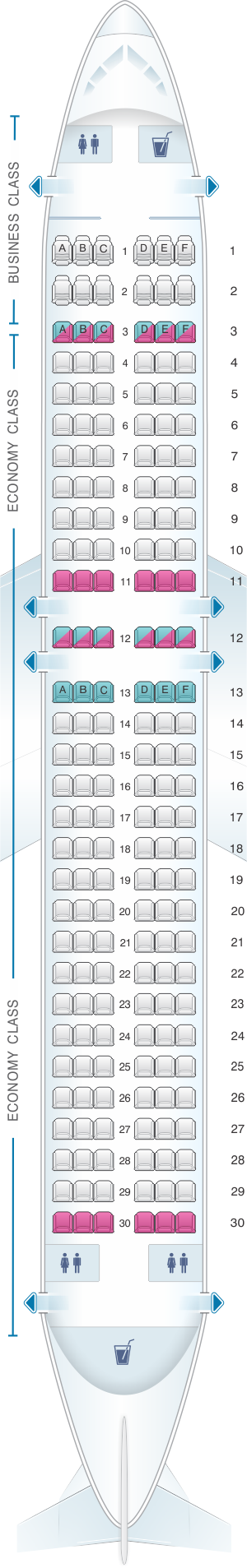 Seat map for Air Moldova Airbus A320