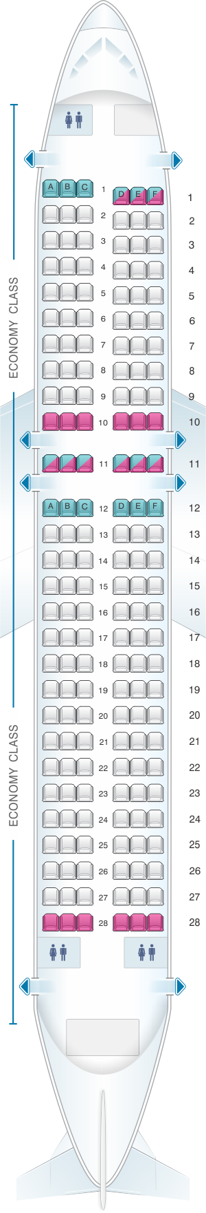 Seat map for Air New Zealand Airbus A320 International