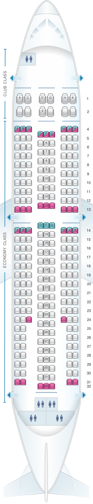 Seat map for Air Transat Airbus A310 300