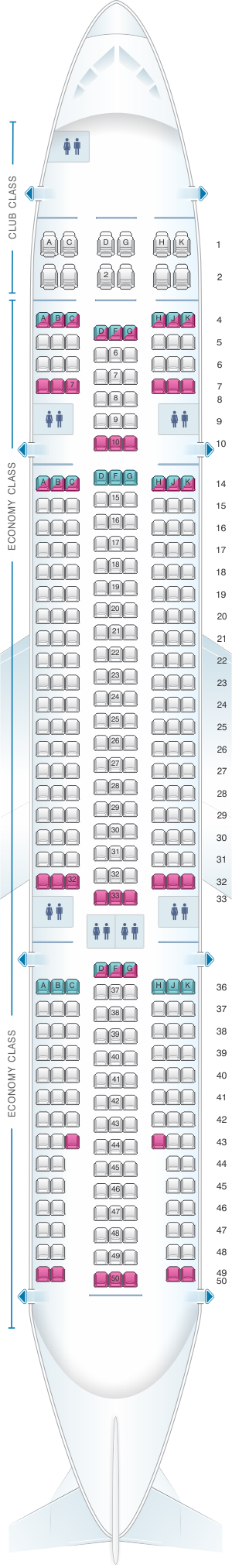Seat map for Air Transat Airbus A330 200