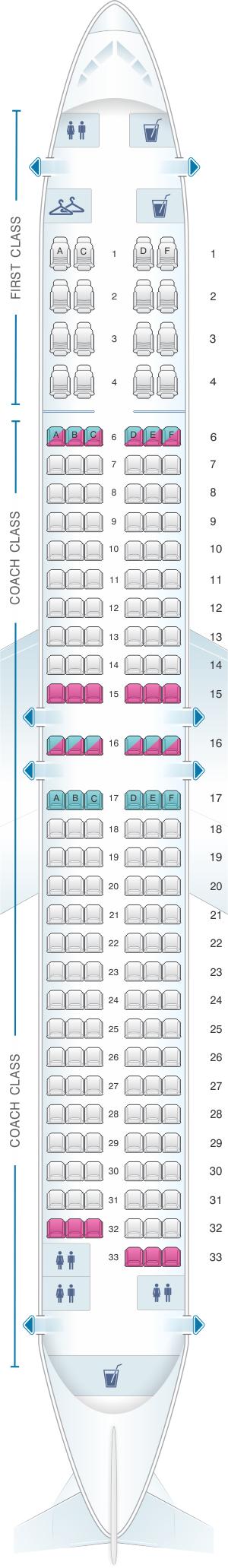 Seat Map Alaska Airlines Horizon Air Boeing B737 900