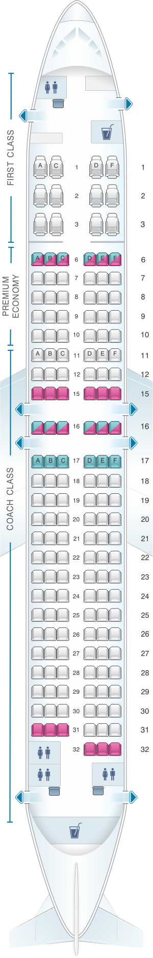 Seat map for Alaska Airlines - Horizon Air Boeing B737 800