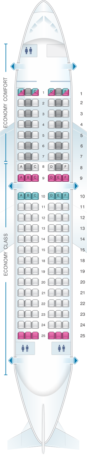 Seat map for Alitalia Airlines - Air One Airbus A319