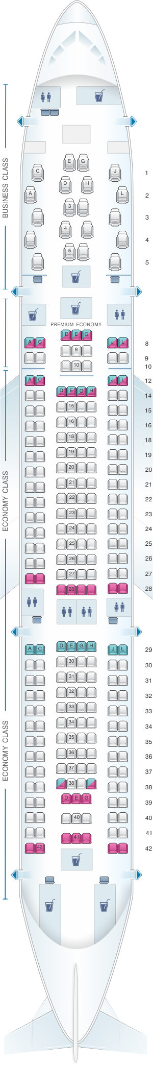 Seat map for Alitalia Airlines - Air One Airbus A330 200